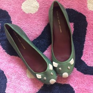 Marc By Marc Jacobs Mouse Flats Green Metallic
